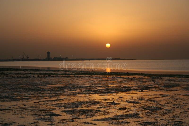 sunset in kuwait stock image