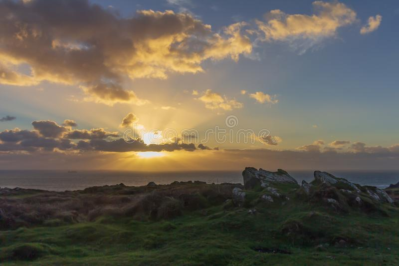 Sunset at Kynance Cove in Cornwall royalty free stock photos