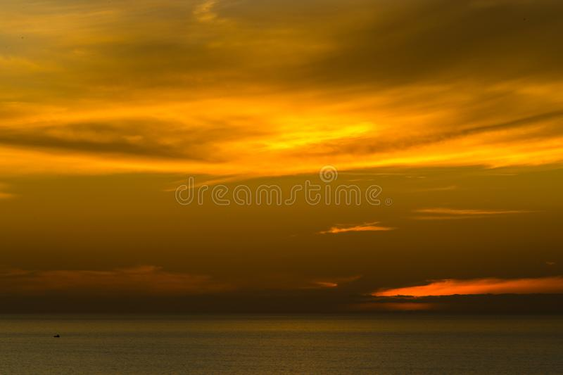 Sunset of La Jolla beach with red sky, California royalty free stock photography