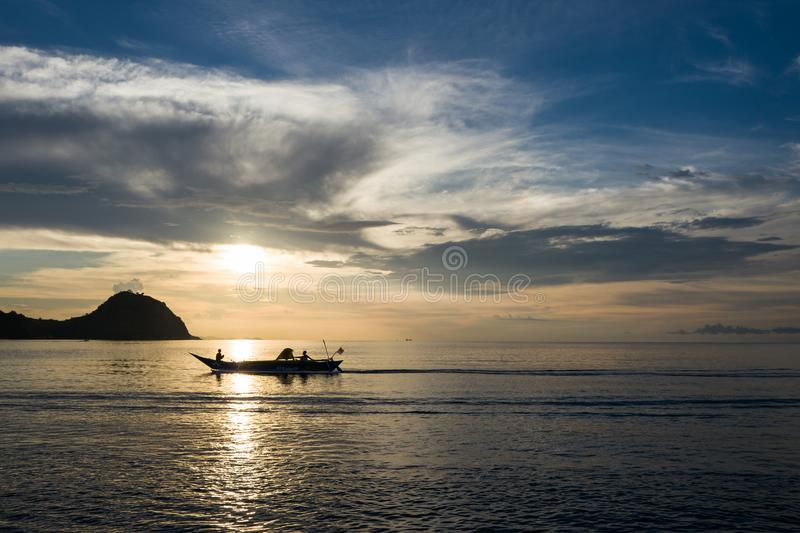 Sunset in Labuan Bajo in Indonesia royalty free stock images