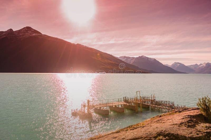 Sunset at Lago Argentina nearby glacier Perito Moreno in Patagonia. South America, Autumn royalty free stock photos