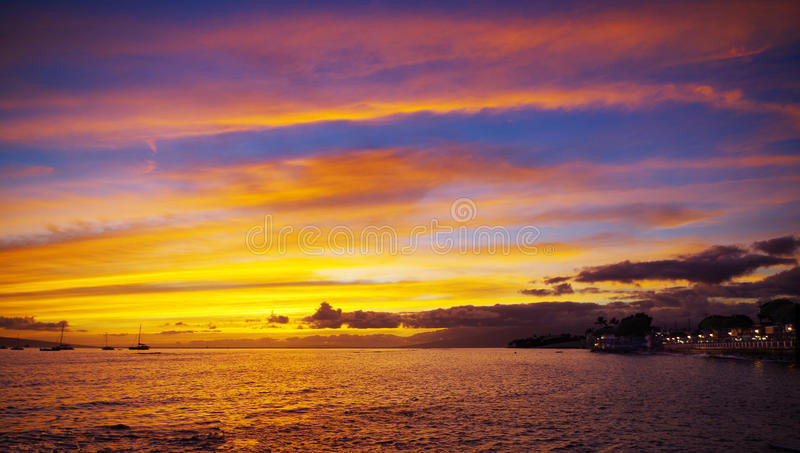Colorful Sunset in Lahaina town, Maui, Hawaii. Spectacular sunset and colorful clouds in Lahaina Town, Maui, Hawaii stock image