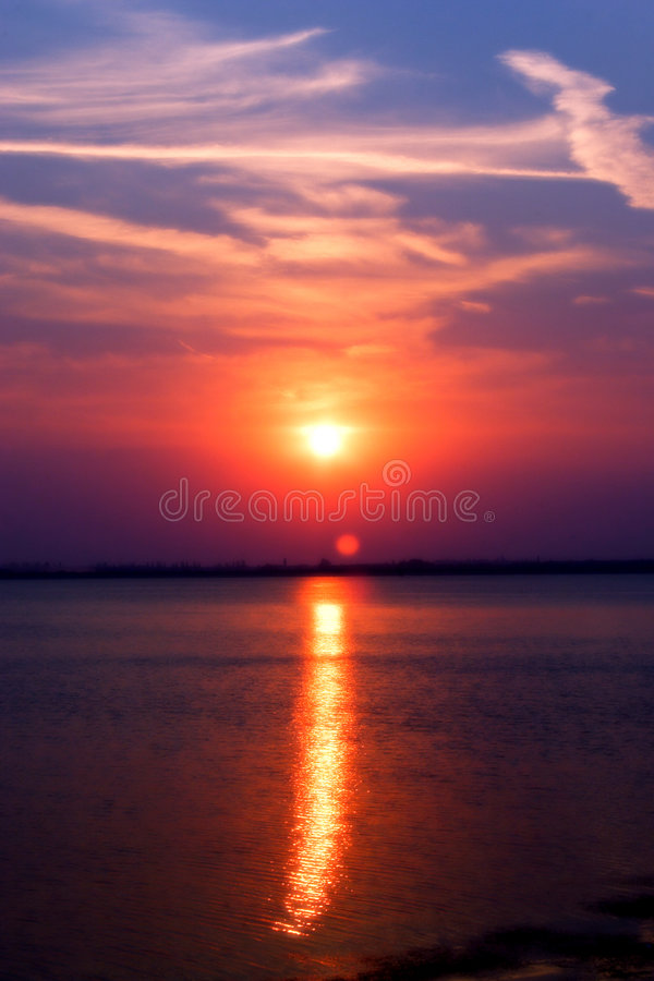 Download Sunset On Lake Stock Image - Image: 1051581