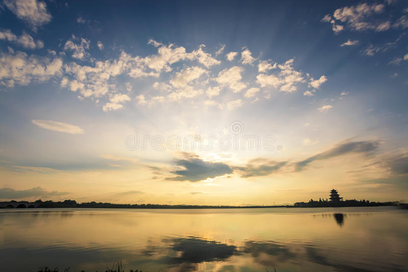Sunset in a lake royalty free stock photo