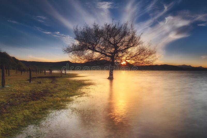 Sunset in a lake in Alava royalty free stock image