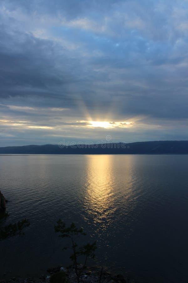 Sunset on lake Baikal stock photos