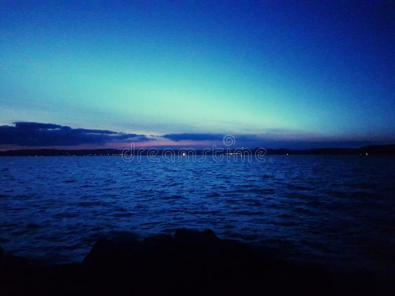 Sunset on Lake Balaton stock photography