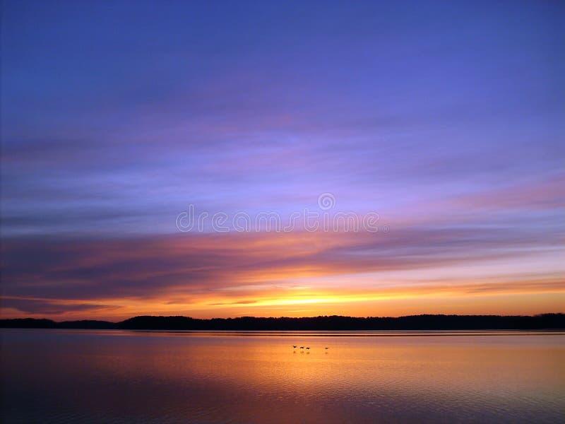Sunset On The Lake stock photos