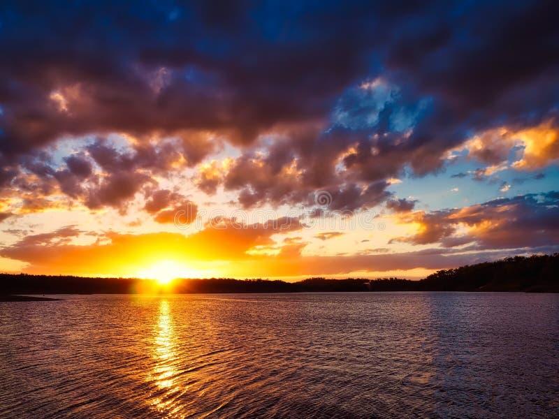 Sunset At Lake Boondooma stock photo