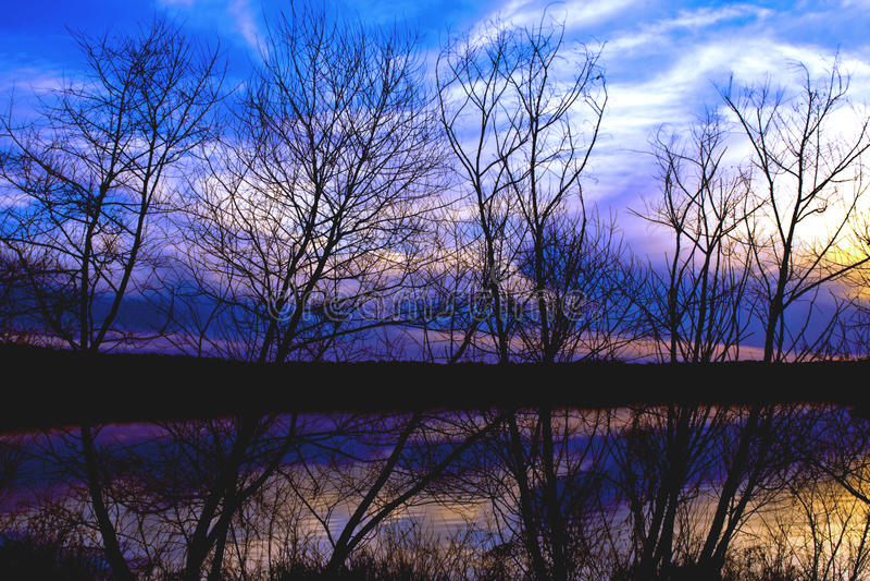 Sunset at Lake Crabtree stock photography
