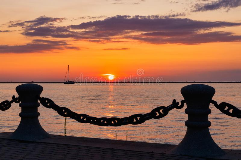 Sunset on Lake Erie in the Great Lakes Region. Beautiful Sunset on Lake Erie in the Great Lakes Region stock image
