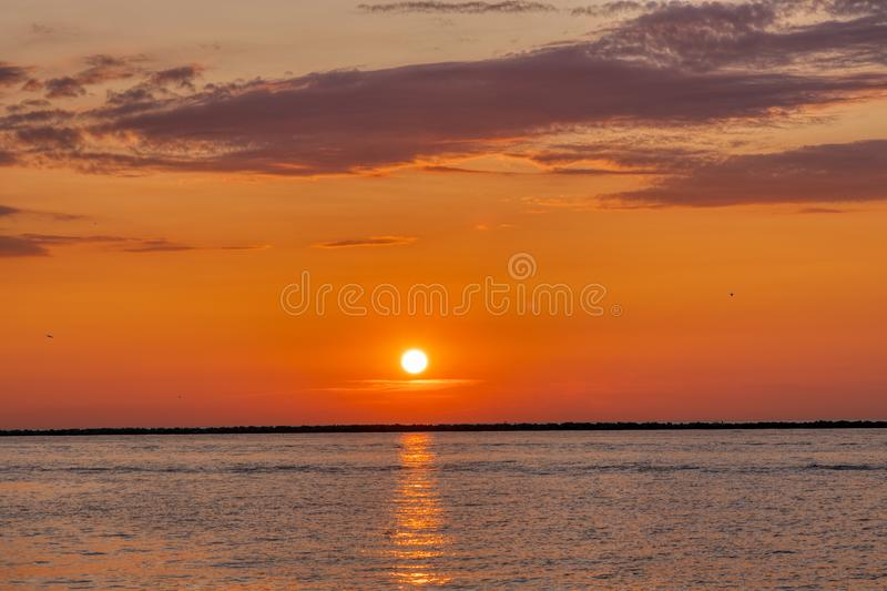 Sunset on Lake Erie in the Great Lakes Region. Beautiful Sunset on Lake Erie in the Great Lakes Region stock images