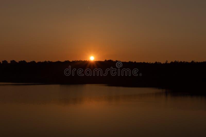 Sunset on the lake. Evening royalty free stock photos