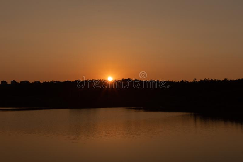 Sunset on the lake. Evening royalty free stock images
