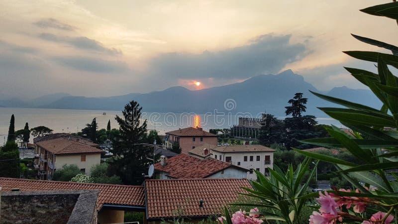 Sunset lake Garda royalty free stock photo