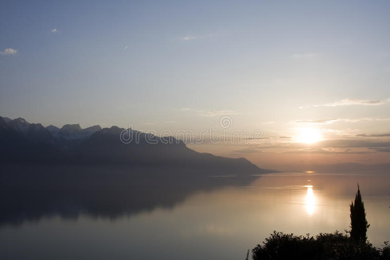 Download Sunset On Lake Geneva, Switzerland Stock Photo - Image of romantic, silhouette: 42538870