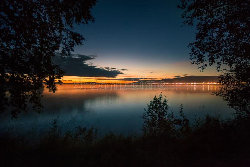 Sunset on Lake Imandra. Kola Peninsula Murmansk Region. royalty free stock photo