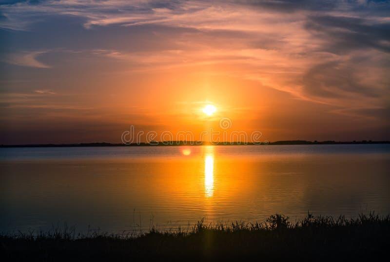 Sunset lake landscape. stock photo
