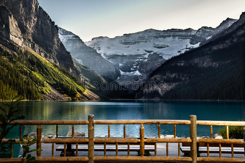 Sunset at Lake Louise. Lake Louise is a hamlet in Alberta, Canada within Improvement District No. 9 Banff (Banff National Park royalty free stock photos
