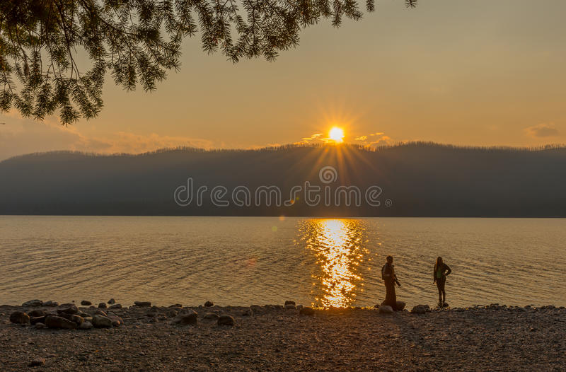 Sunset Lake McDonald Glacier National Park royalty free stock photography