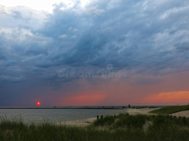Download Sunset At Lake In Michigan, Horizontal Stock Image - Image: 33415505