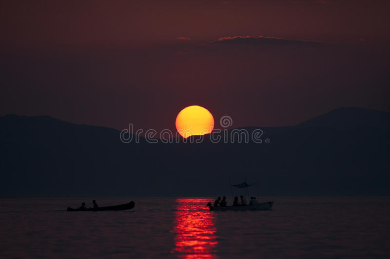 Download Sunset at Lake Ohrid stock image. Image of lake, summer - 26176123