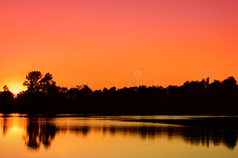 Sunset on the lake. Polish nature. stock images