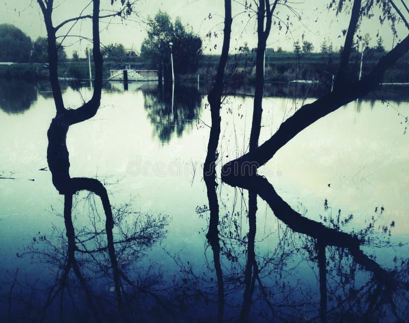 Sunset lake reflections stock photography