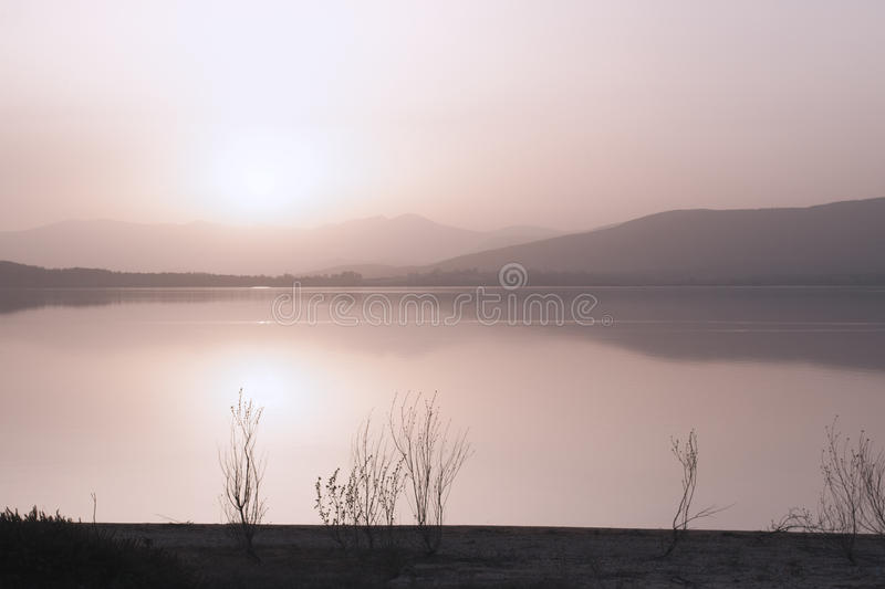 Download Sunset in the lake shore stock image. Image of beautiful - 38258315