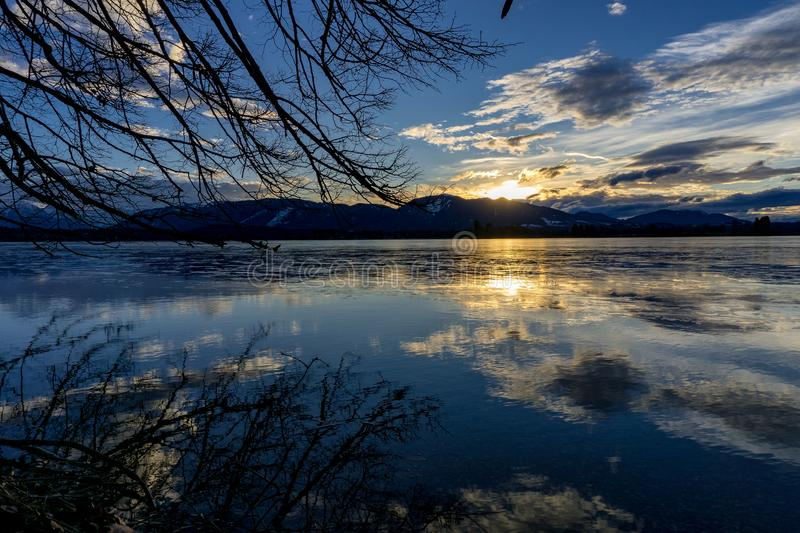Sunset at Lake Staffelsee royalty free stock photography