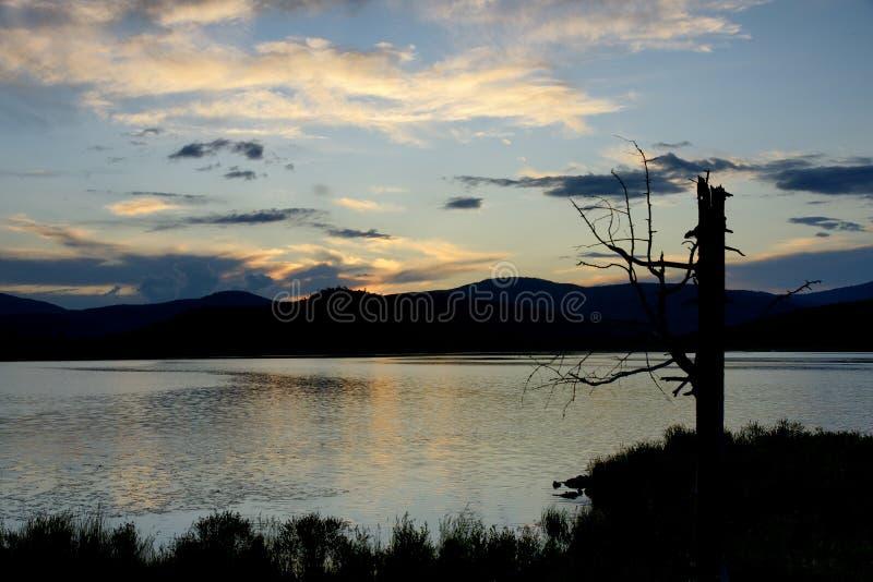 Sunset of a lake royalty free stock image