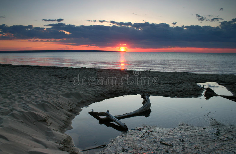 Sunset At Lake Superior. Miner's Beach at Pictured Rocks National Lake Shore, on Lake Superior in Michigan stock image