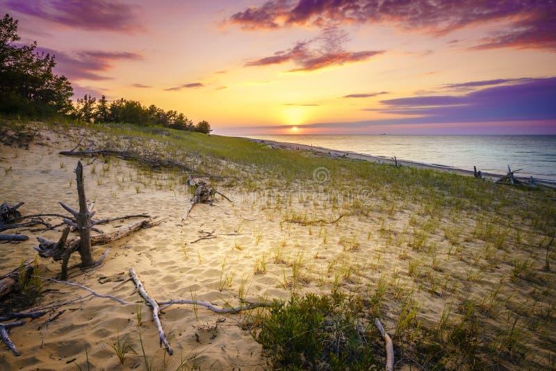 Sunset on Lake Superior. Sunset on the beach of Lake Superior in Whitefish Point, Michigan, Upper Peninsula royalty free stock image
