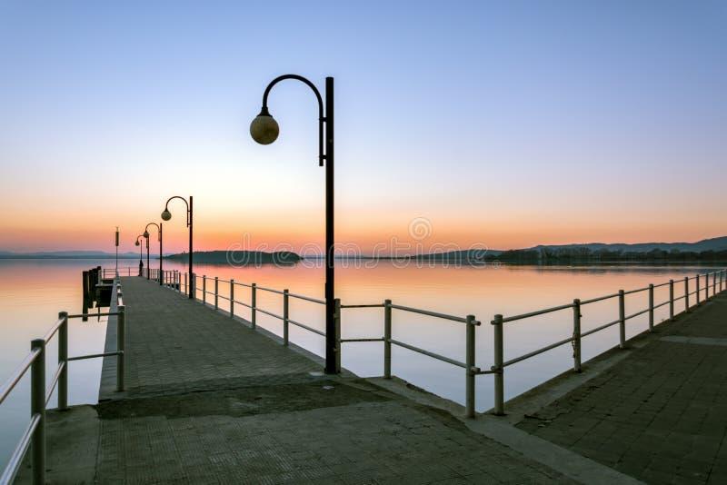 Sunset at Lake Trasimeno stock image