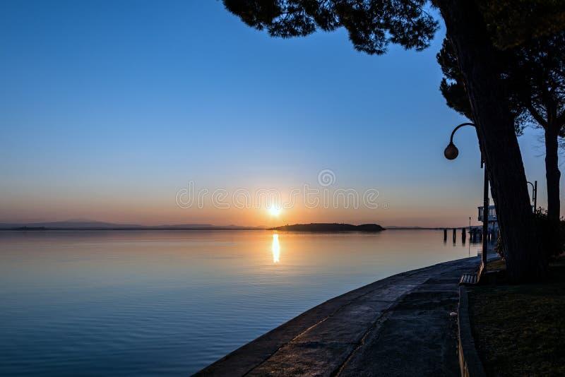 Sunset at Lake Trasimeno royalty free stock photography
