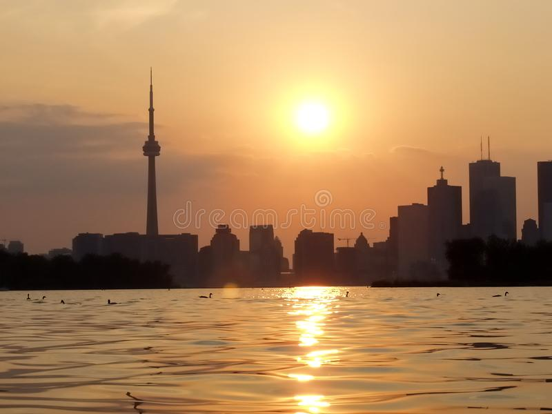 Sunset Lake view of downtown Toronto stock image