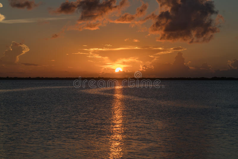 Sunset on Lake Washington, Melbourne Florida. The Lake Washington reservoir on the St John's River in Brevard County provides the water supply for many of the stock photography