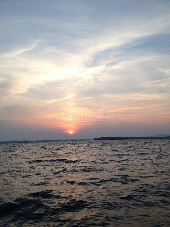 Sunset on Lake Winni royalty free stock photos