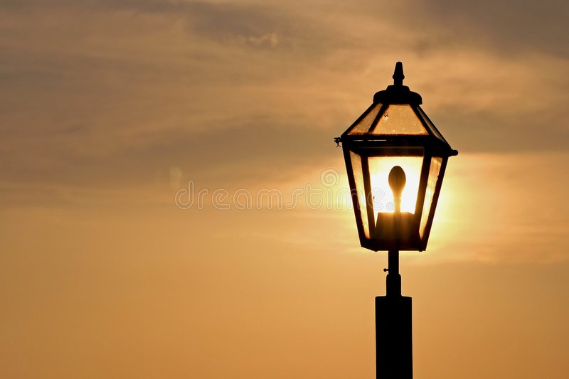 Sunset In The Lamp Royalty Free Stock Image