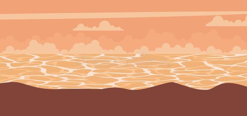 Sunset landscape background at sea. Vector royalty free illustration