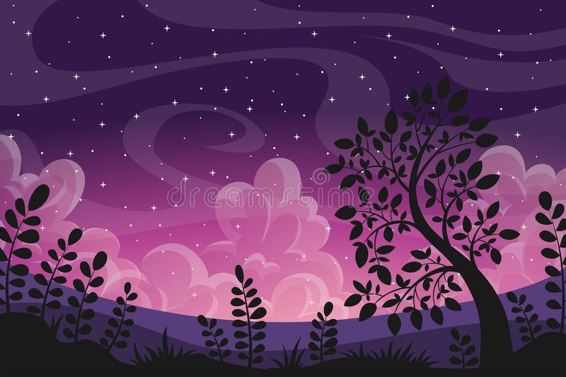 Sunset Landscape With Clouds. Tree and plants vector illustration