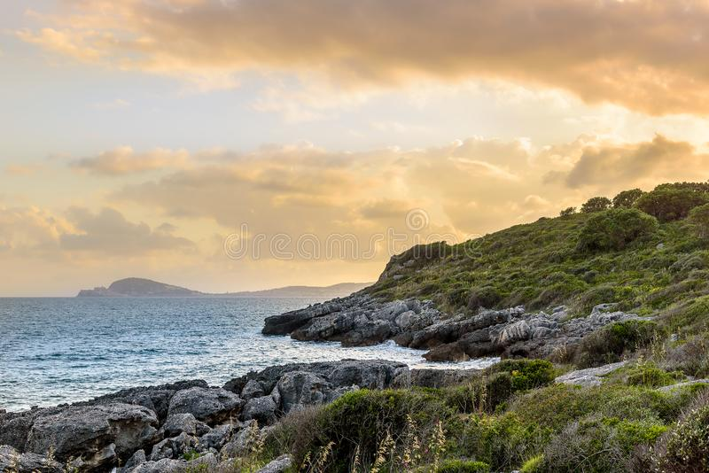 Sunset landscape on the coast of Tyrrhenian sea between Scauri and Formia, Italy.  royalty free stock image