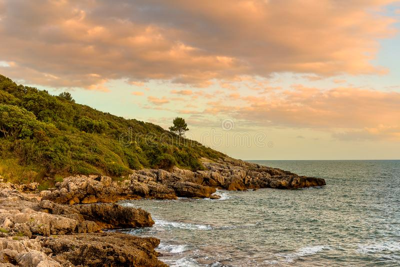 Sunset landscape on the coast of Tyrrhenian sea between Scauri and Formia, Italy. Sunset landscape on the coast of the Tyrrhenian sea between Scauri and Formia stock photos