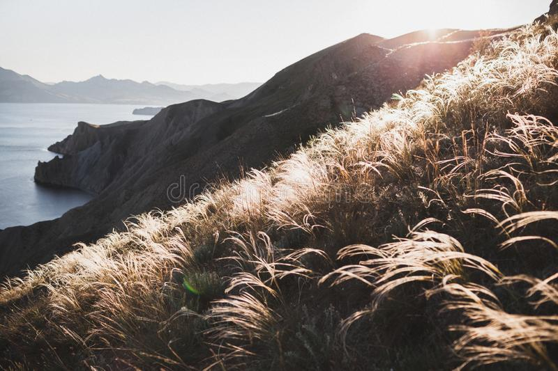 Sunset landscape of Incredible spring field with feather grass. Sunset landscape overlooking the hilly coastal line in Crimea, Koktebel..Incredible spring field stock photography