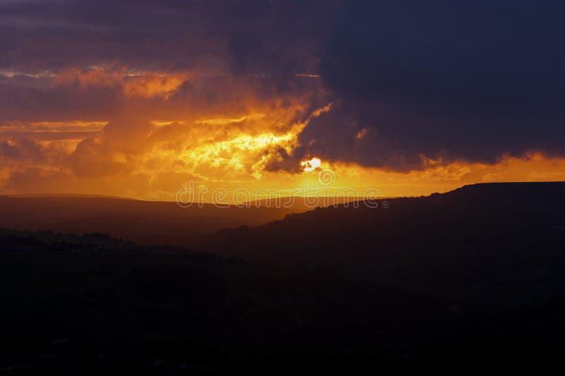 Sunset Landscape. Norland, Halifax, Yorkshire, UK royalty free stock images