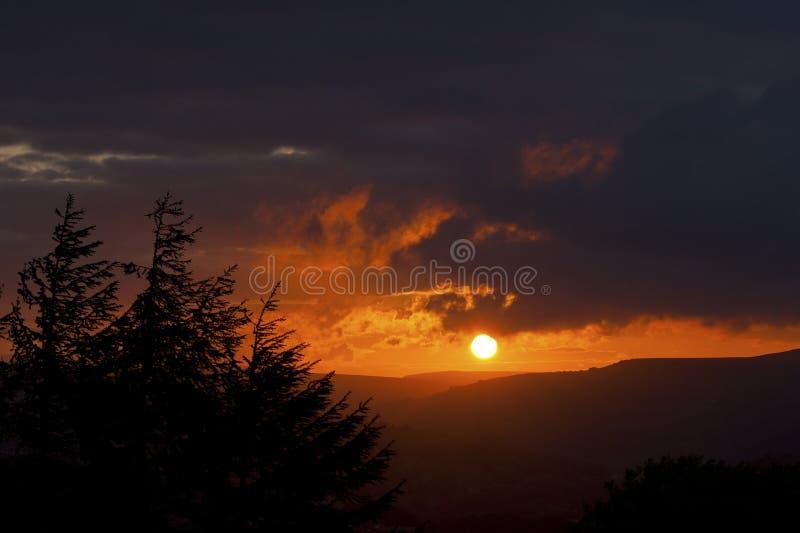 Sunset Landscape. Norland, Halifax, Yorkshire, UK stock photography