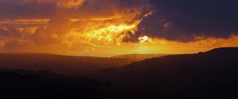 Sunset landscape. Norland, Halifax, Yorkshire, UK stock photos