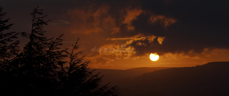 Sunset landscape. Norland, Halifax, Yorkshire, UK royalty free stock photo