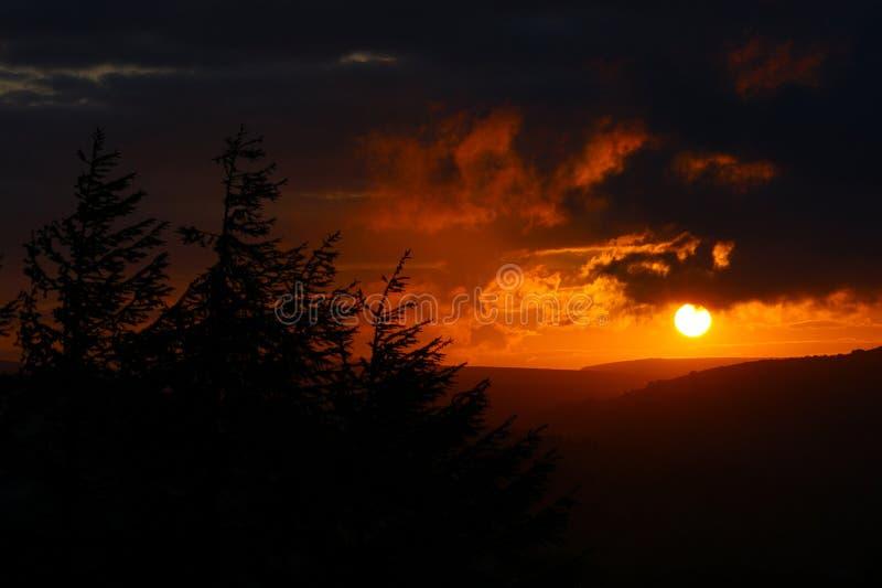 Sunset landscape. Norland, Halifax, Yorkshire, UK royalty free stock photography