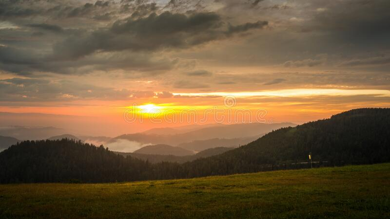 Sunset landscape scenery near Kniebis Germany royalty free stock image